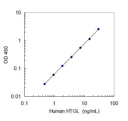 A typical standard curve generated with the human HTGL ELISA kit