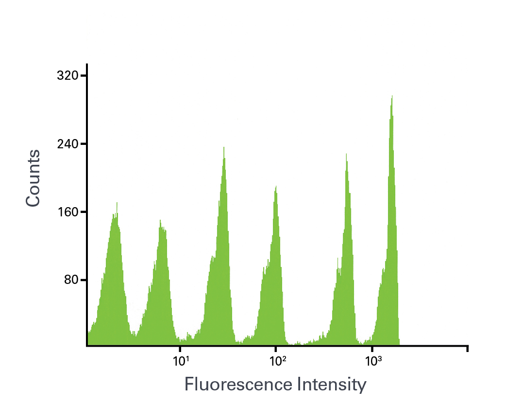 Flow cytometer analysis of AcGFP Flow Cytometer Calibration Beads