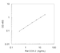 A typical standard curve obtained using the Rat COX-2 ELISA Kit