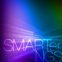 Purple, blue, and green background with overlaid text of SMARTer NGS