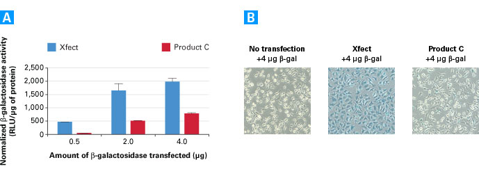 Xfect Protein Transfection Reagent delivers up to 8X more active beta-galactosidase into HeLa cells than the leading competitor, Product C.